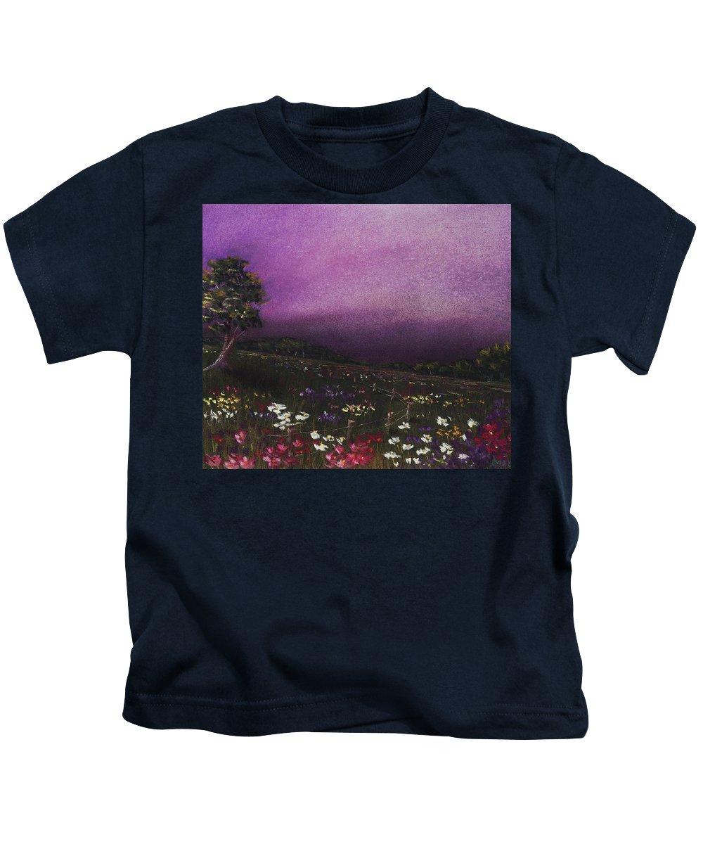 Malakhova Kids T-Shirt featuring the painting Purple Meadow by Anastasiya Malakhova