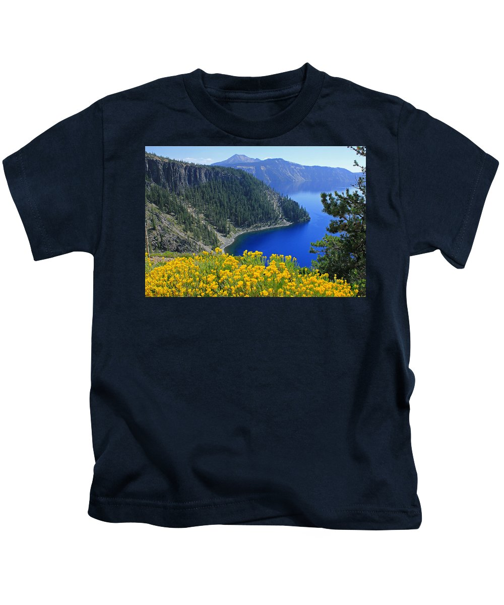 Rabbit Brush Kids T-Shirt featuring the photograph D2m5622-rabbit Brush At Crater Lake by Ed Cooper Photography