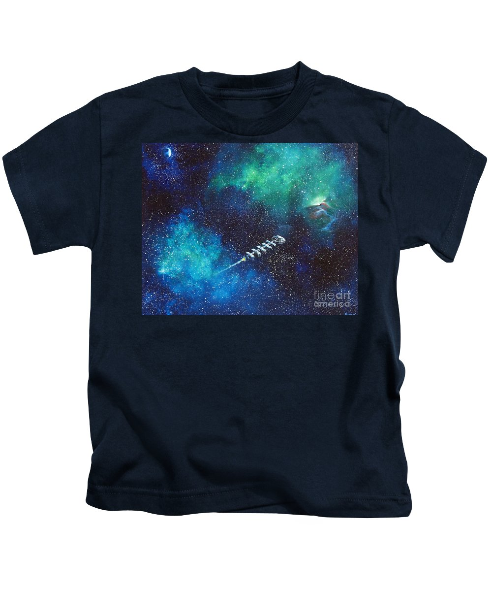 Spacescape Kids T-Shirt featuring the painting Reaching Out by Murphy Elliott