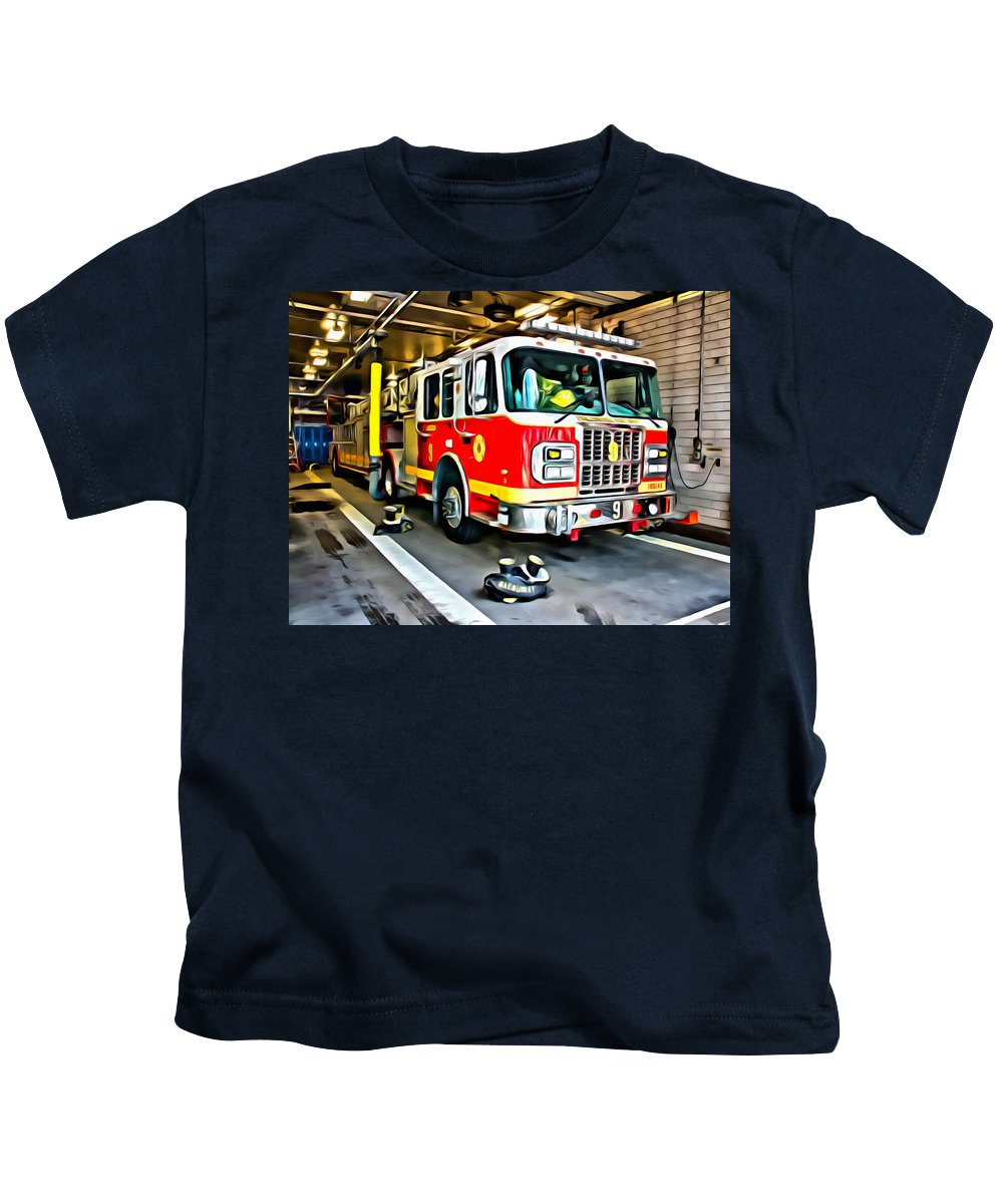 Firetruck Kids T-Shirt featuring the photograph Ready For Anything by Alice Gipson