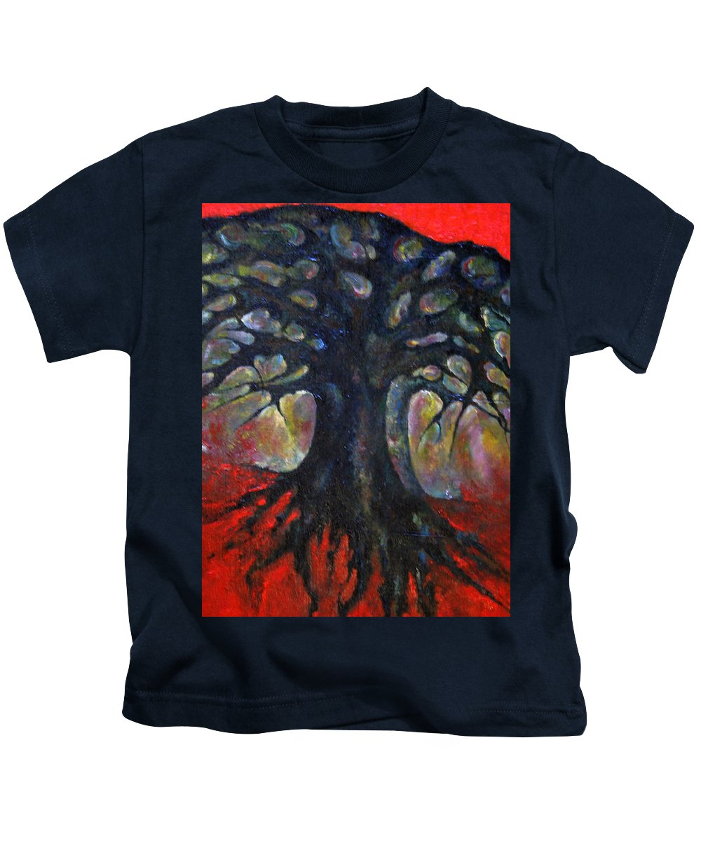 Colour Kids T-Shirt featuring the painting Red Tree by Wojtek Kowalski