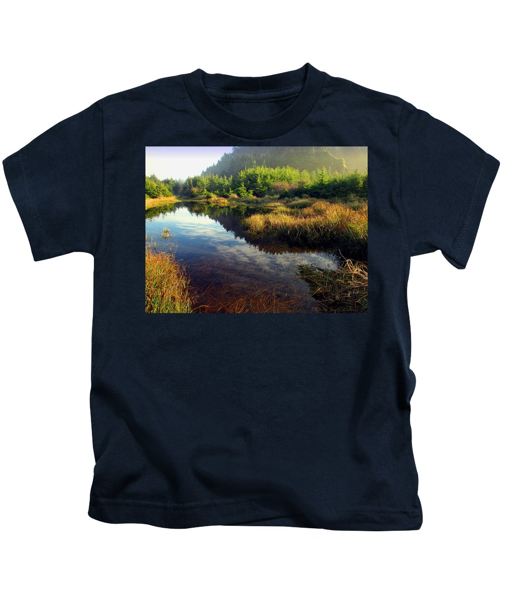 Reflections Kids T-Shirt featuring the photograph Reflections In The Pond by Joyce Dickens
