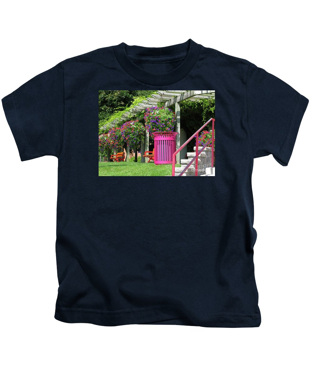 Petunias Kids T-Shirt featuring the photograph Riotous Resting Place by Ann Horn