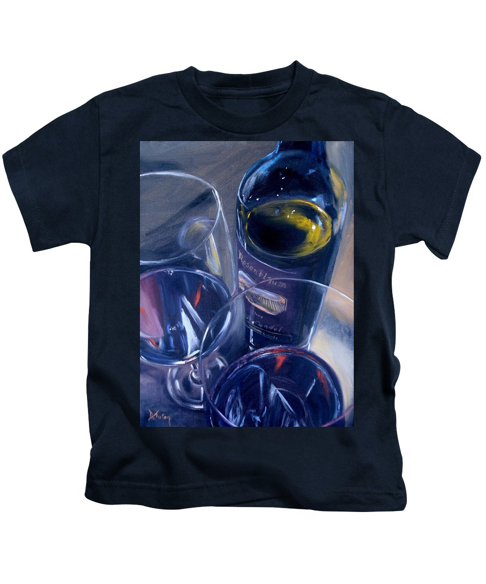 Wine Kids T-Shirt featuring the painting Rosenblum And Glasses by Donna Tuten