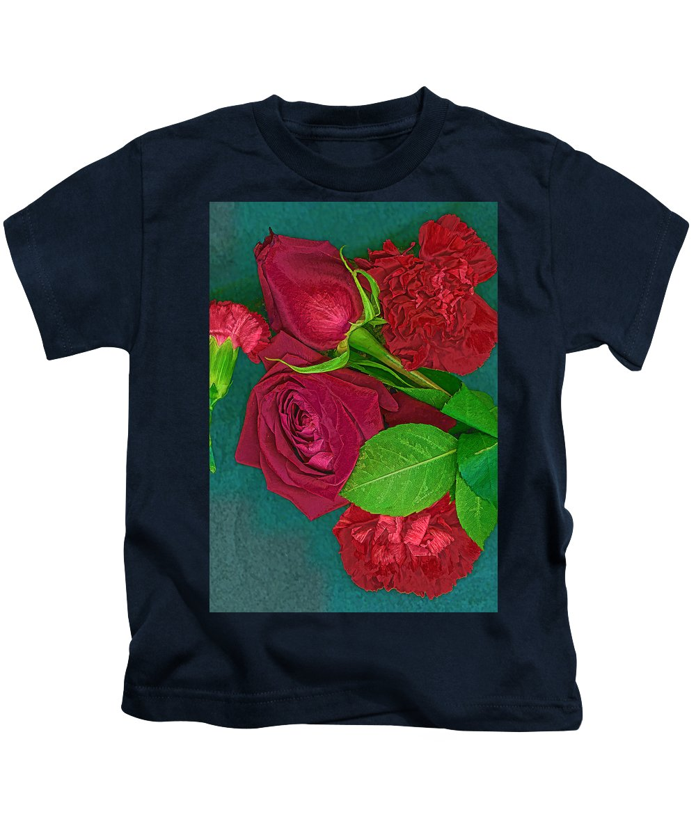 Kids T-Shirt featuring the photograph Roses And Carnations by Cathy Anderson