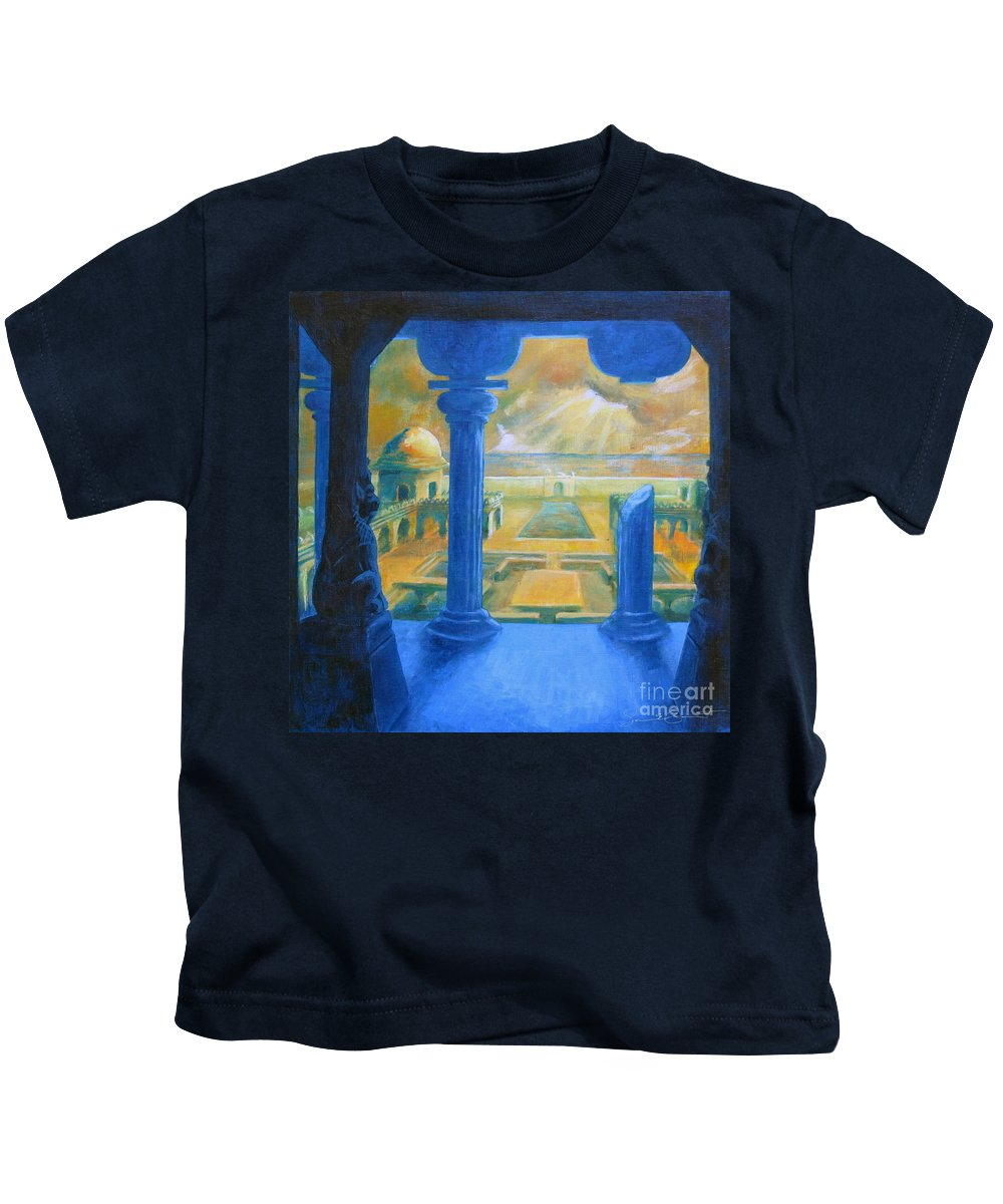 Ruins Kids T-Shirt featuring the painting Ruins Of Lankapura by Samantha Geernaert