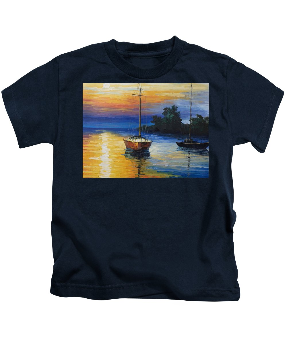 Landscape Kids T-Shirt featuring the painting Sailboat At Sunset by Rosie Sherman