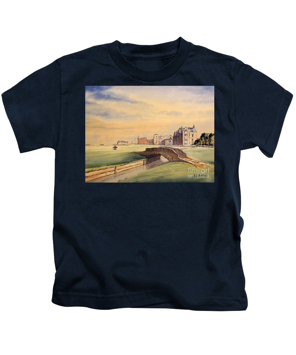 St Andrews Golf Course Kids T-Shirt featuring the painting Saint Andrews Golf Course Scotland - 18th Hole by Bill Holkham