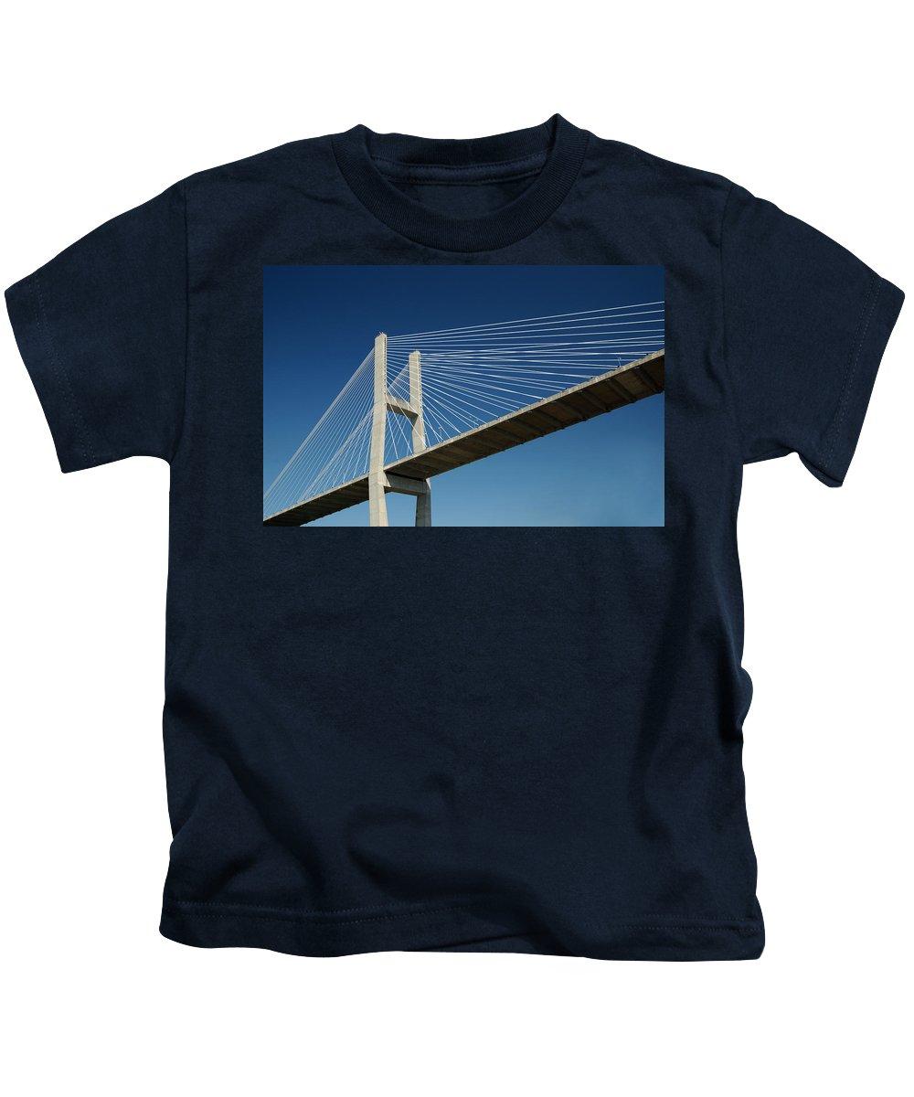 Savannah River Bridge Kids T-Shirt featuring the photograph Savannah River Bridge Georgia Usa by Bob Pardue