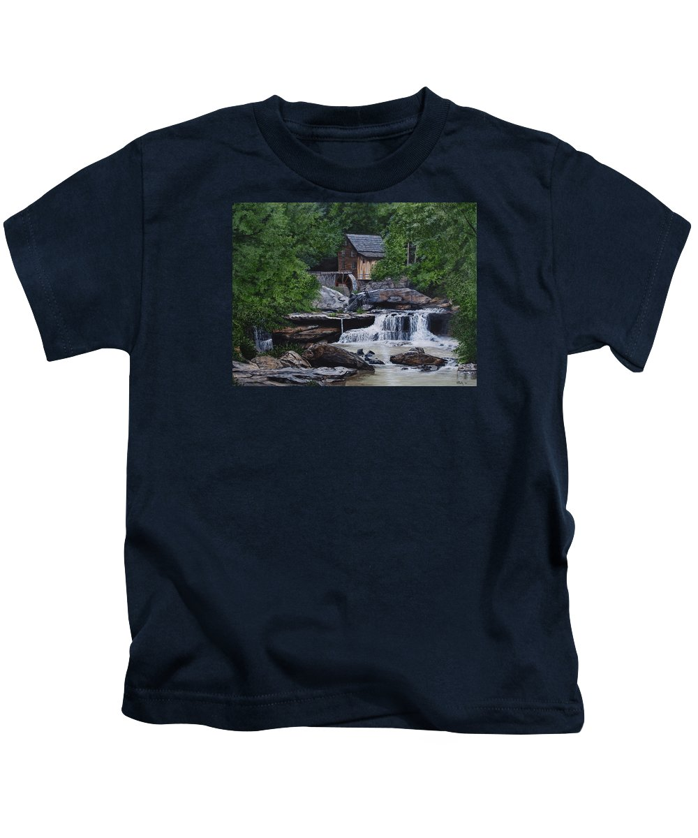 Grist Mill Kids T-Shirt featuring the painting Scenic Grist Mill by Vicky Path