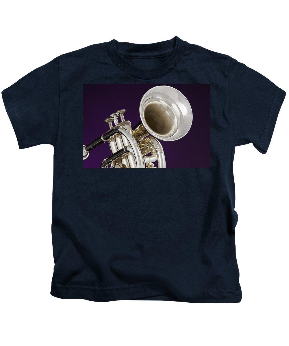 Cornet Kids T-Shirt featuring the photograph Sharp Silver Trumpet by M K Miller