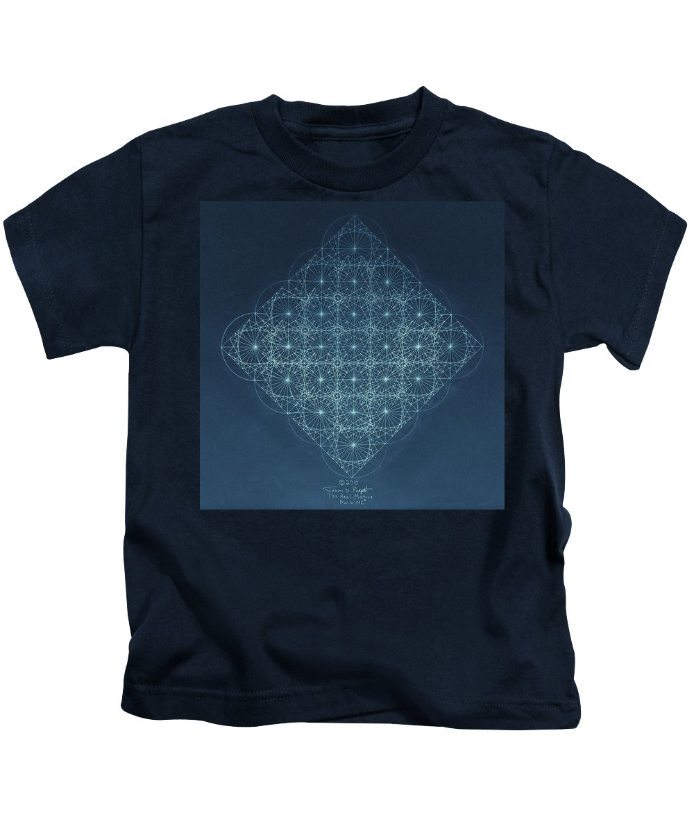 Fractal Kids T-Shirt featuring the drawing Sine Cosine And Tangent Waves by Jason Padgett