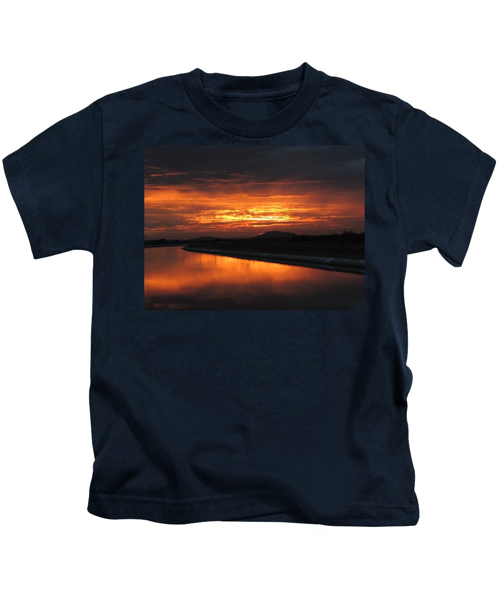 Sunrise Kids T-Shirt featuring the photograph Smoke On The Water by Enaid Silverwolf