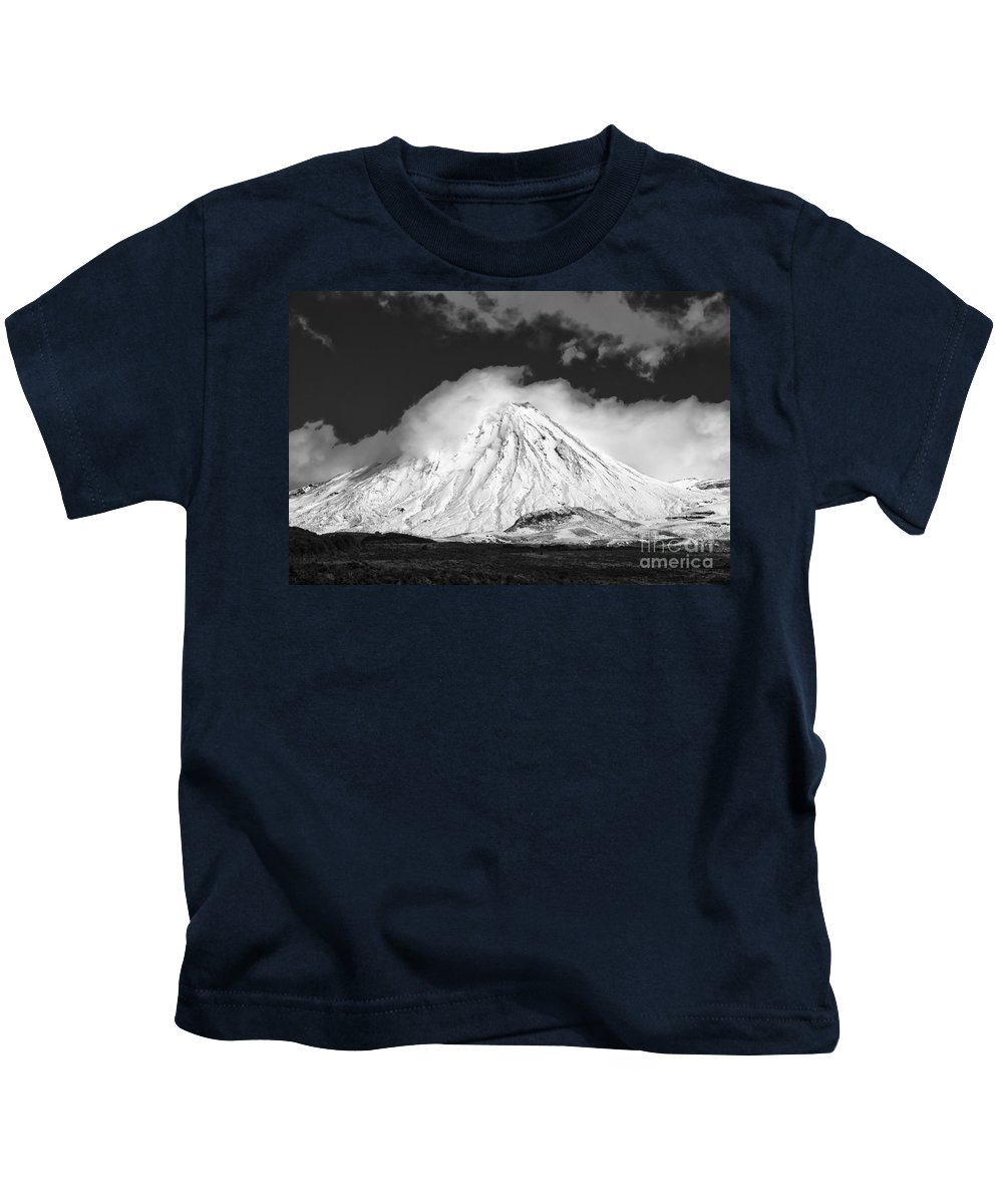 Mount Ngauruhoe Tongariro National Park New Zealand Mountain Mountains Volcano Volcanos Landscape Landscapes Snow Snowscape Snowscapes Black And White Kids T-Shirt featuring the photograph Snow And Clouds On Mt. Ngauruhoe 2 by Bob Phillips