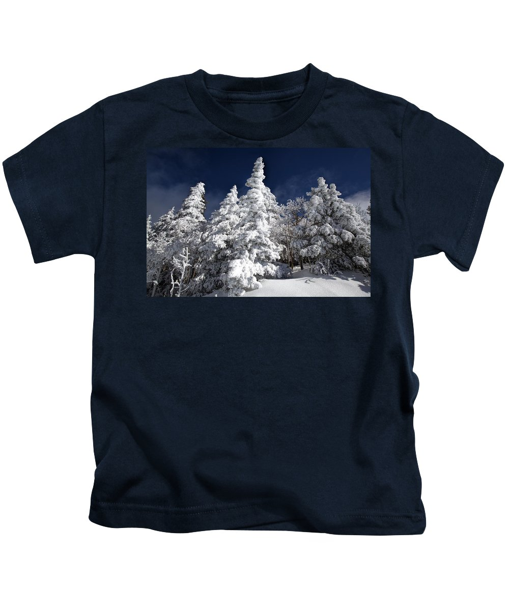 Spruce Kids T-Shirt featuring the photograph Snow Spruce Sunshine by Jim Buchanan