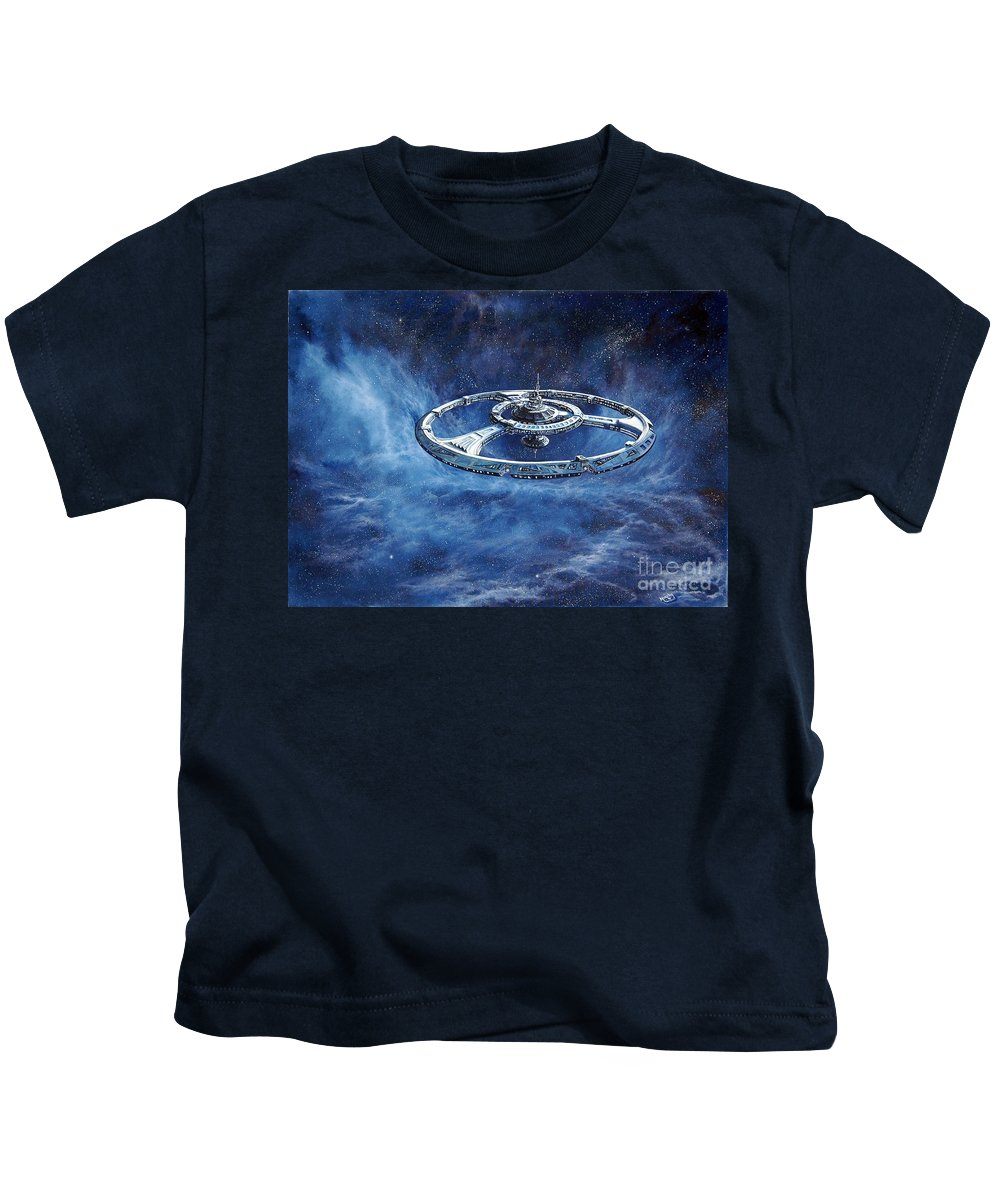 Sci-fi Kids T-Shirt featuring the painting Deep Space Eight Station Of The Future by Murphy Elliott