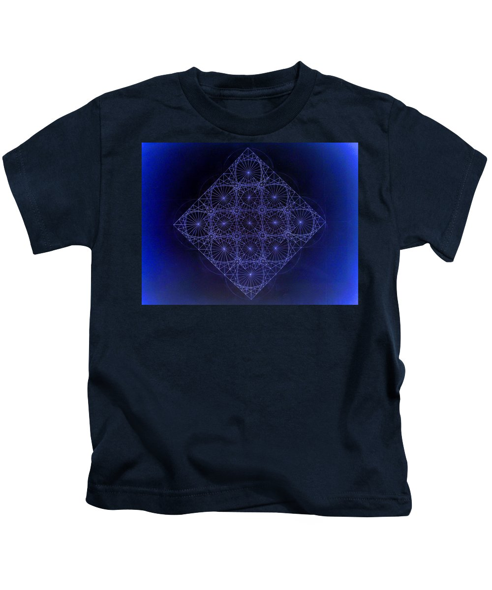 Fractal Kids T-Shirt featuring the drawing Space Time Sine Cosine And Tangent Waves by Jason Padgett