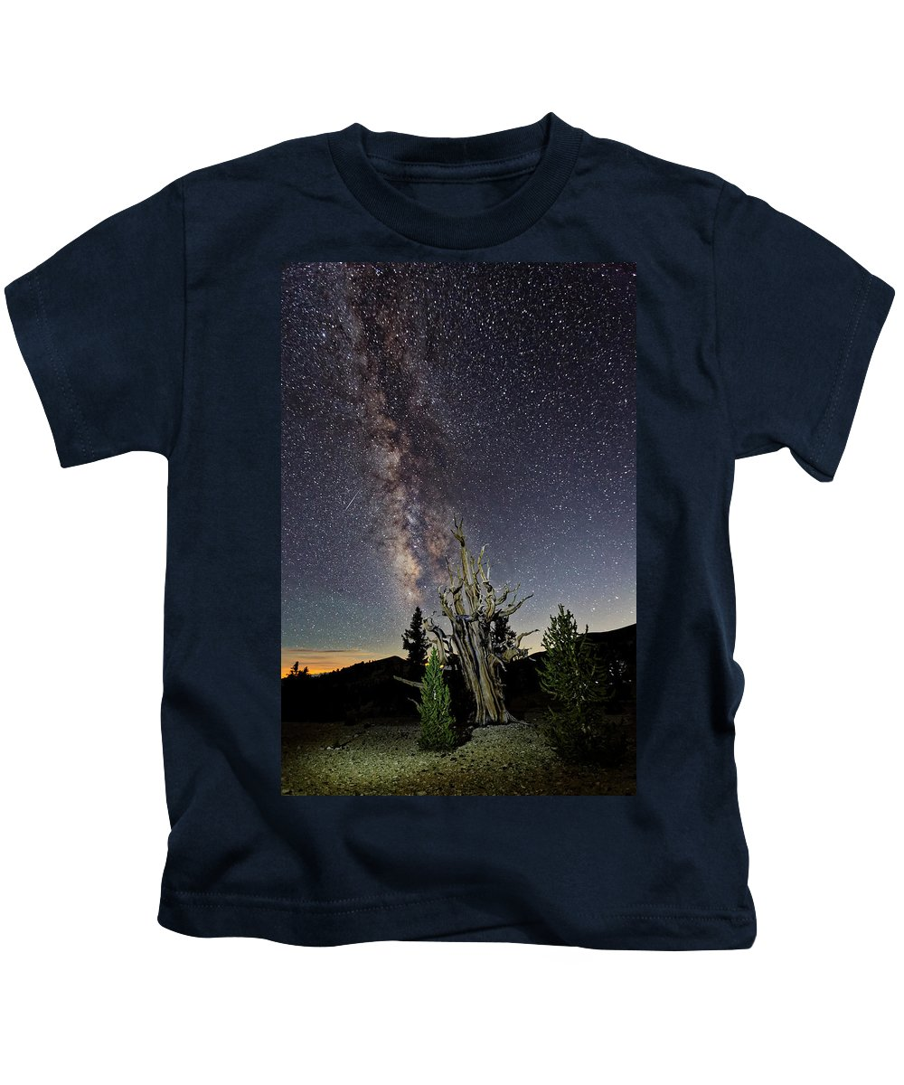 Bristlecone Pines Kids T-Shirt featuring the photograph Starry Night by Pam Boling