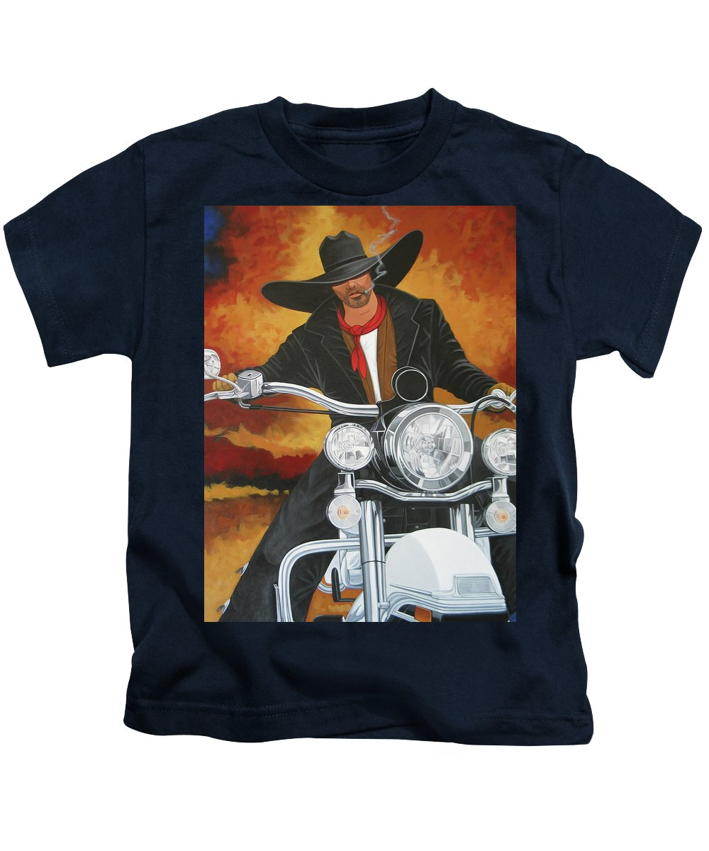 Cowboy On Motorcycle Kids T-Shirt featuring the painting Steel Pony by Lance Headlee