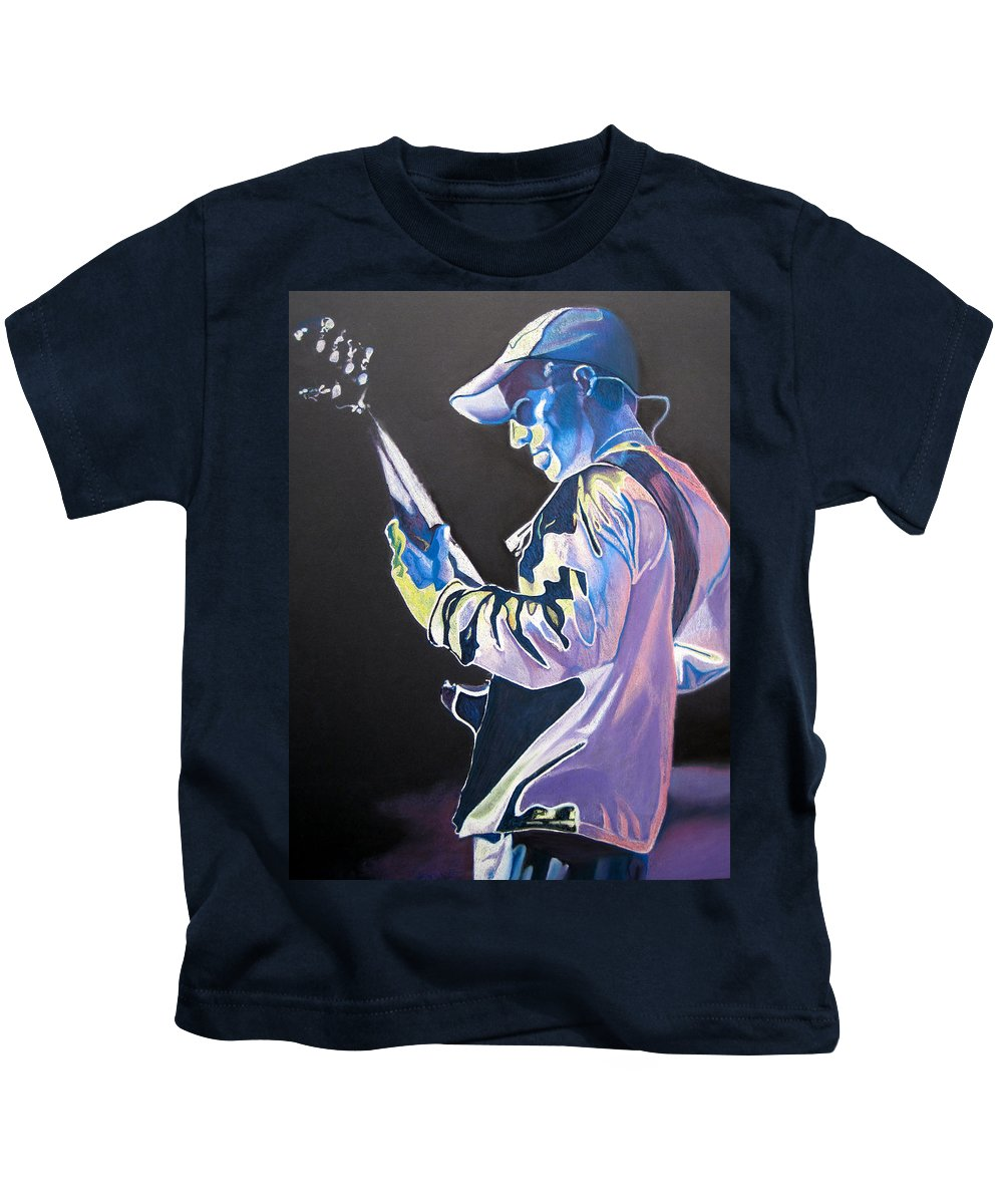 Stefan Lessard Kids T-Shirt featuring the drawing Stefan Lessard Colorful Full Band Series by Joshua Morton