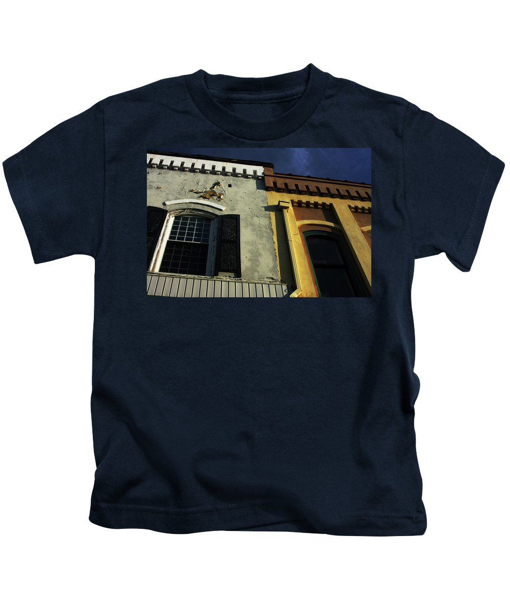 Building Kids T-Shirt featuring the photograph Stitched Buildings by Karol Livote