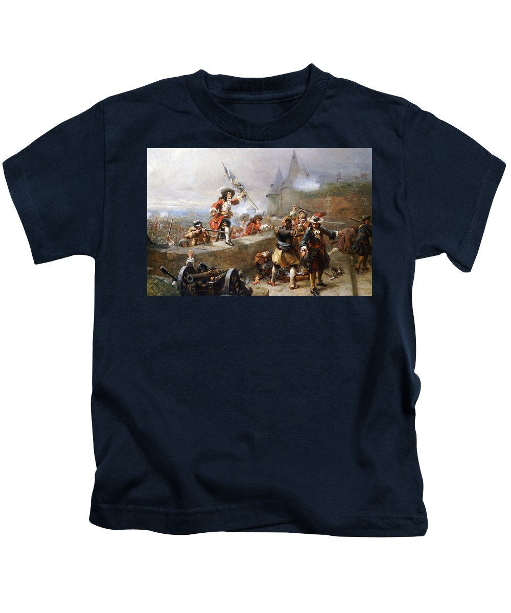 Storming The Battlements Kids T-Shirt featuring the painting Storming the Battlements by Robert Alexander Hillingford