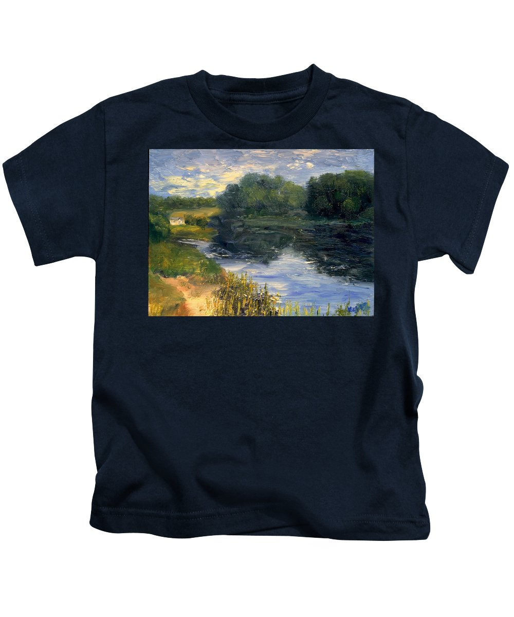 Landscape Kids T-Shirt featuring the painting Summer At Jackson Lake by Gail Kirtz