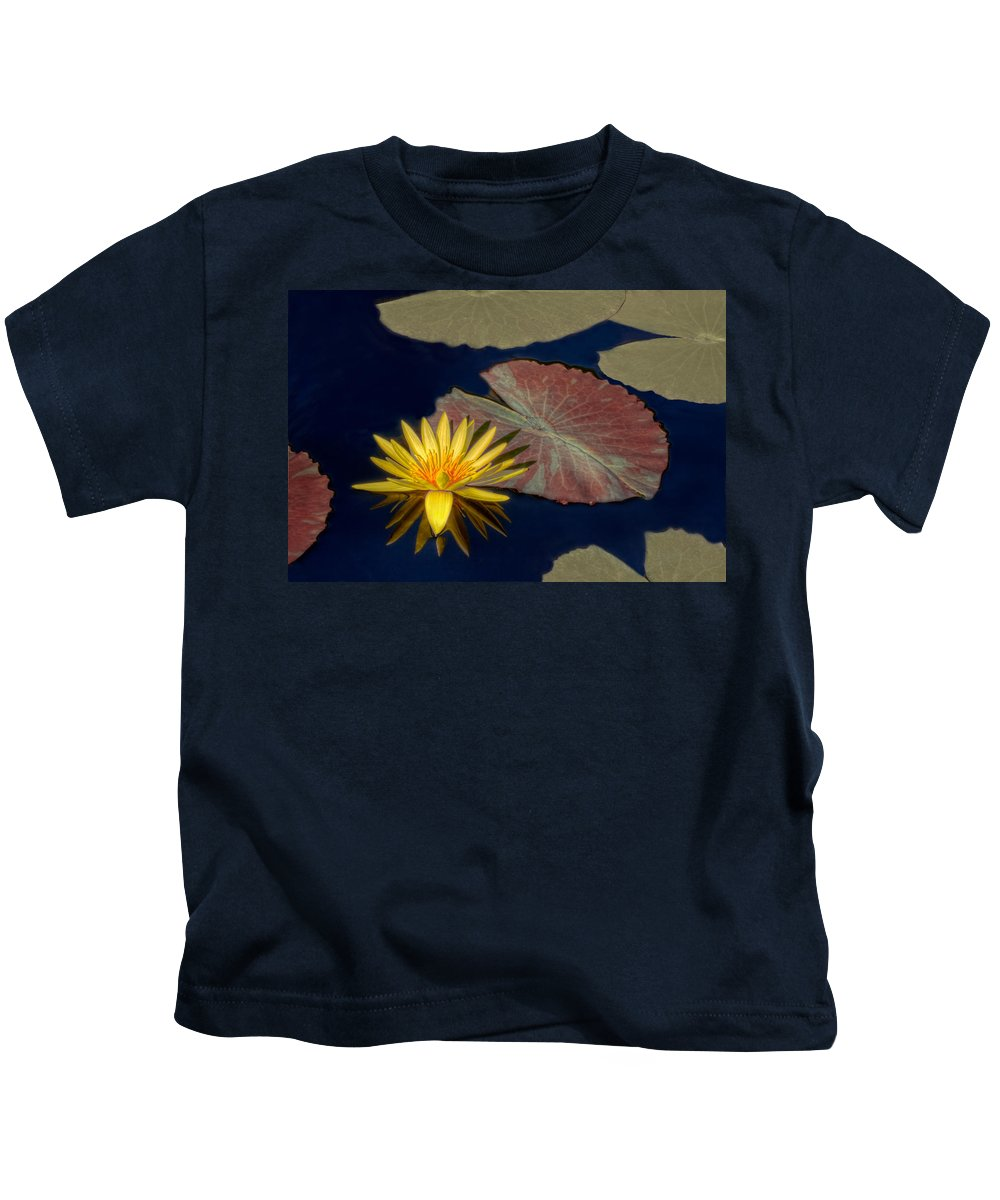 Water Lily Kids T-Shirt featuring the photograph Sun-kissed Water Lily by Lindley Johnson
