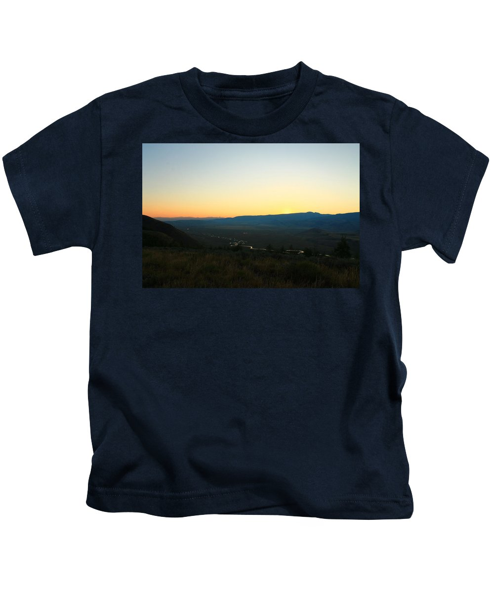 Jackson Hole Kids T-Shirt featuring the photograph Sun On The River by Catie Canetti