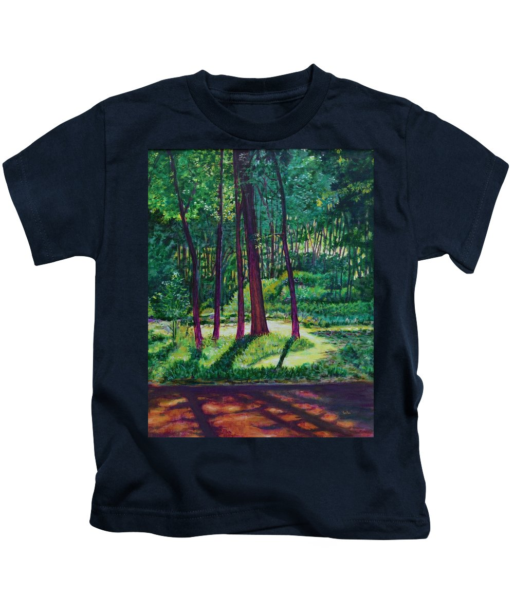 Nature Kids T-Shirt featuring the painting Sunlight Peeping Through. by Usha Shantharam