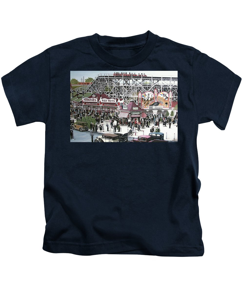 Streetscapes Kids T-Shirt featuring the painting Sunnyside Park by Kenneth M Kirsch