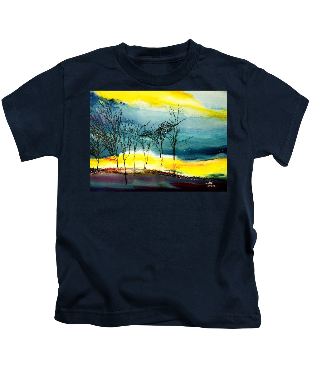 Nature Kids T-Shirt featuring the painting Sunset 3 by Anil Nene