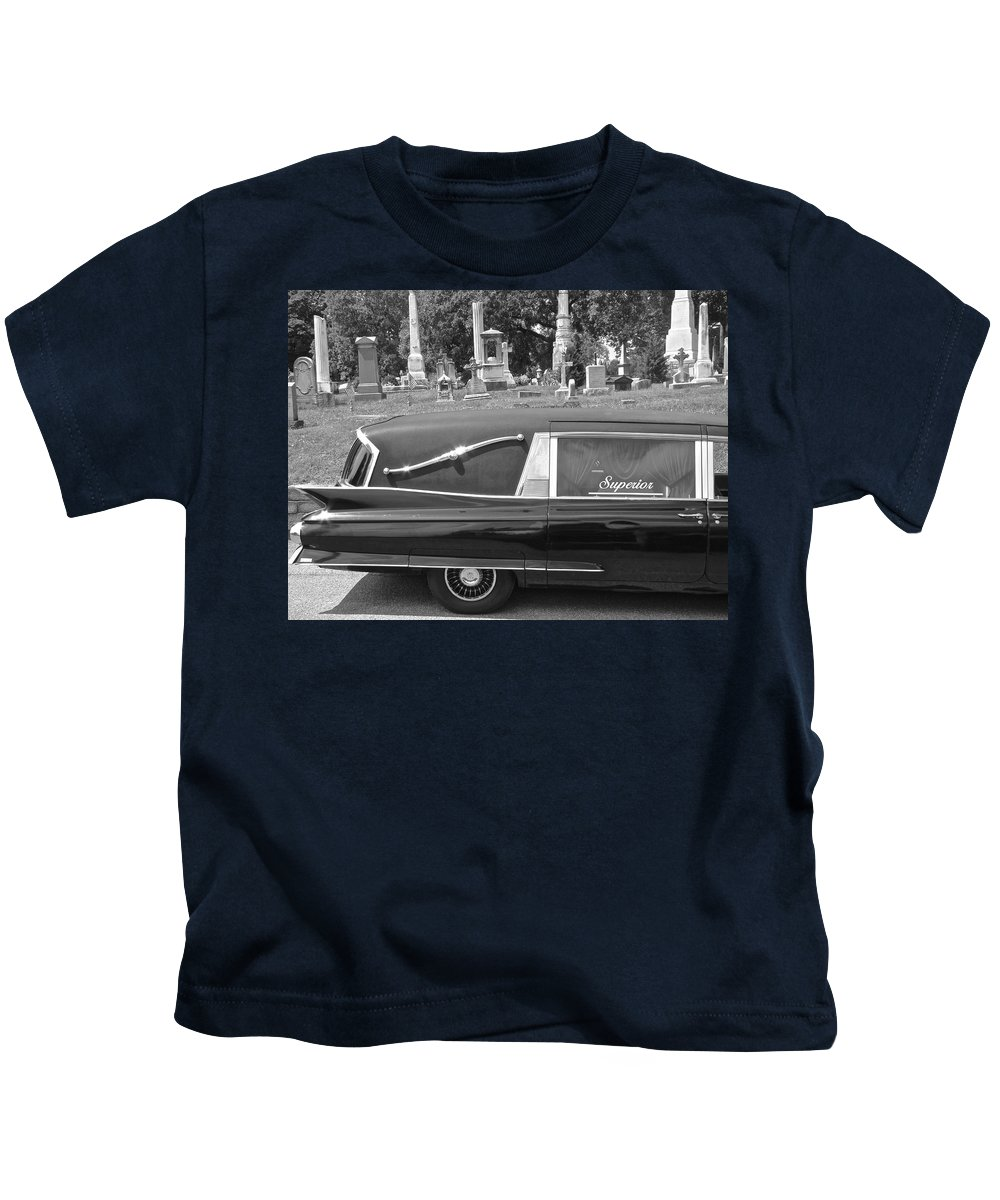 Superior Hearse Laurel Hill Cemetary Philadelphia Pa Car Show Black White Kids T-Shirt featuring the photograph Superior by Alice Gipson