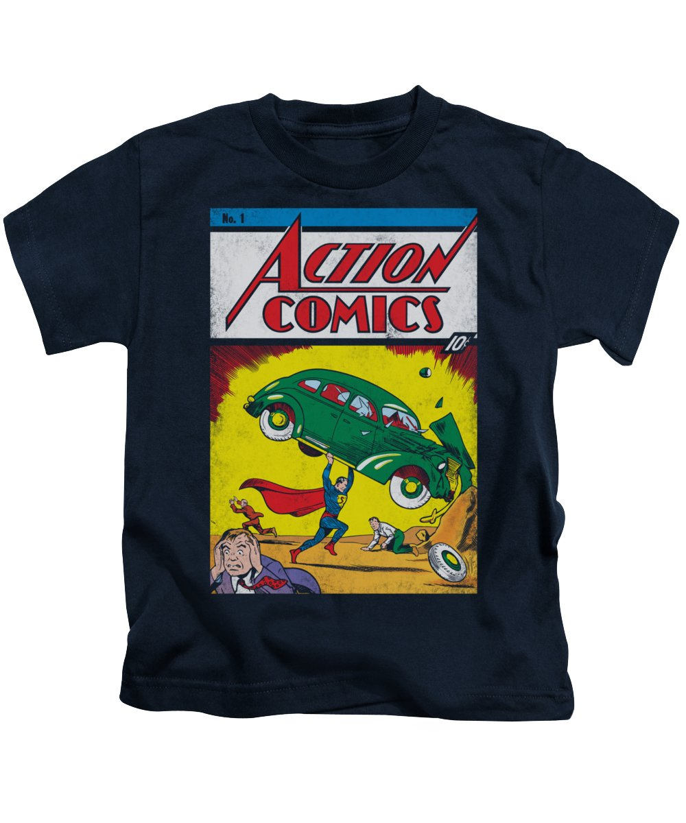 Superman Kids T-Shirt featuring the digital art Superman - Action No. 1 by Brand A