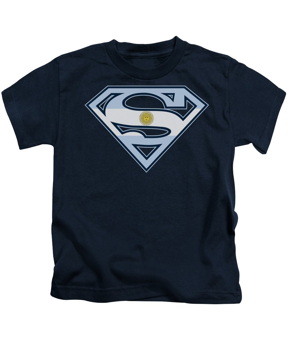 Superman Kids T-Shirt featuring the digital art Superman - Argentinian Shield by Brand A