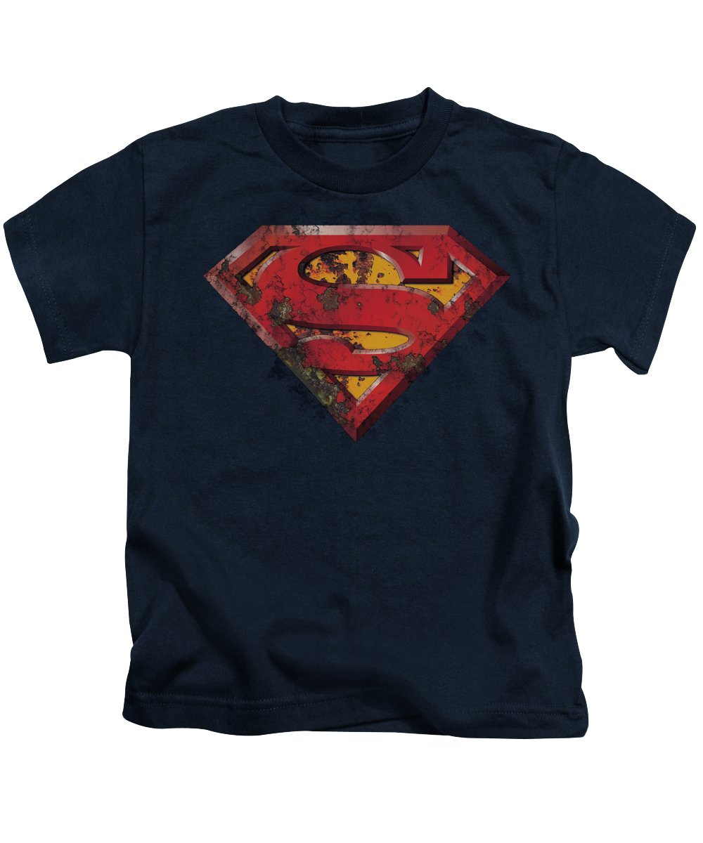 Superman Kids T-Shirt featuring the digital art Superman - Rusted Shield by Brand A