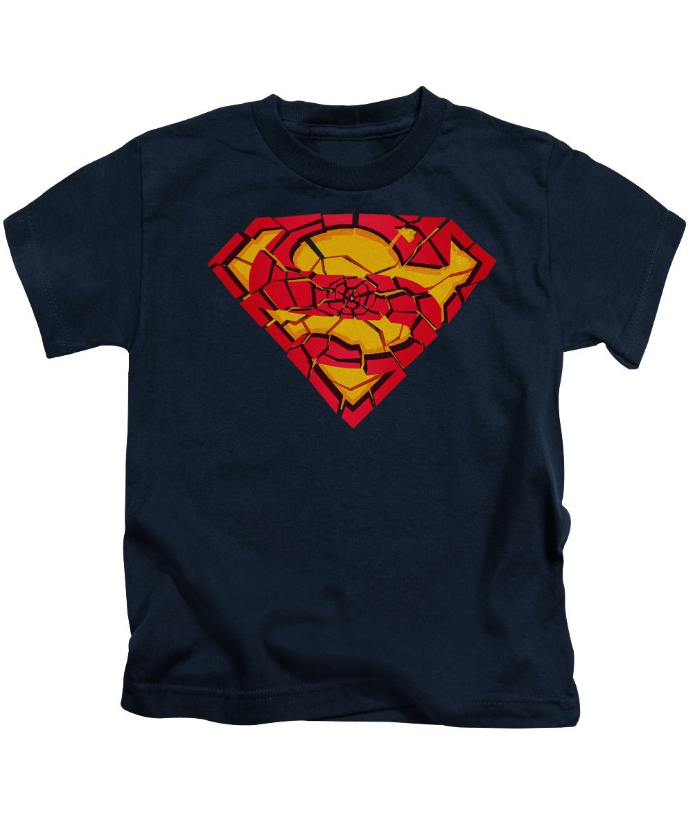 Superman Kids T-Shirt featuring the digital art Superman - Shattered Shield by Brand A