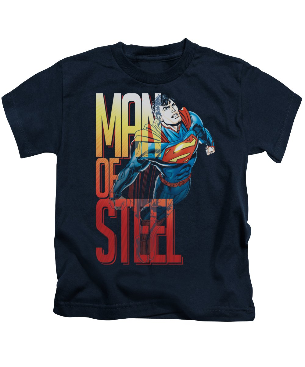 Superman Kids T-Shirt featuring the digital art Superman - Steel Flight by Brand A