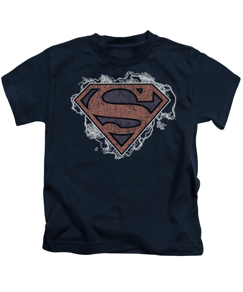 Superman Kids T-Shirt featuring the digital art Superman - Storm Cloud Supes by Brand A