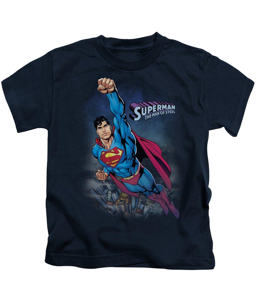 Superman Kids T-Shirt featuring the digital art Superman - Twilight Flight by Brand A