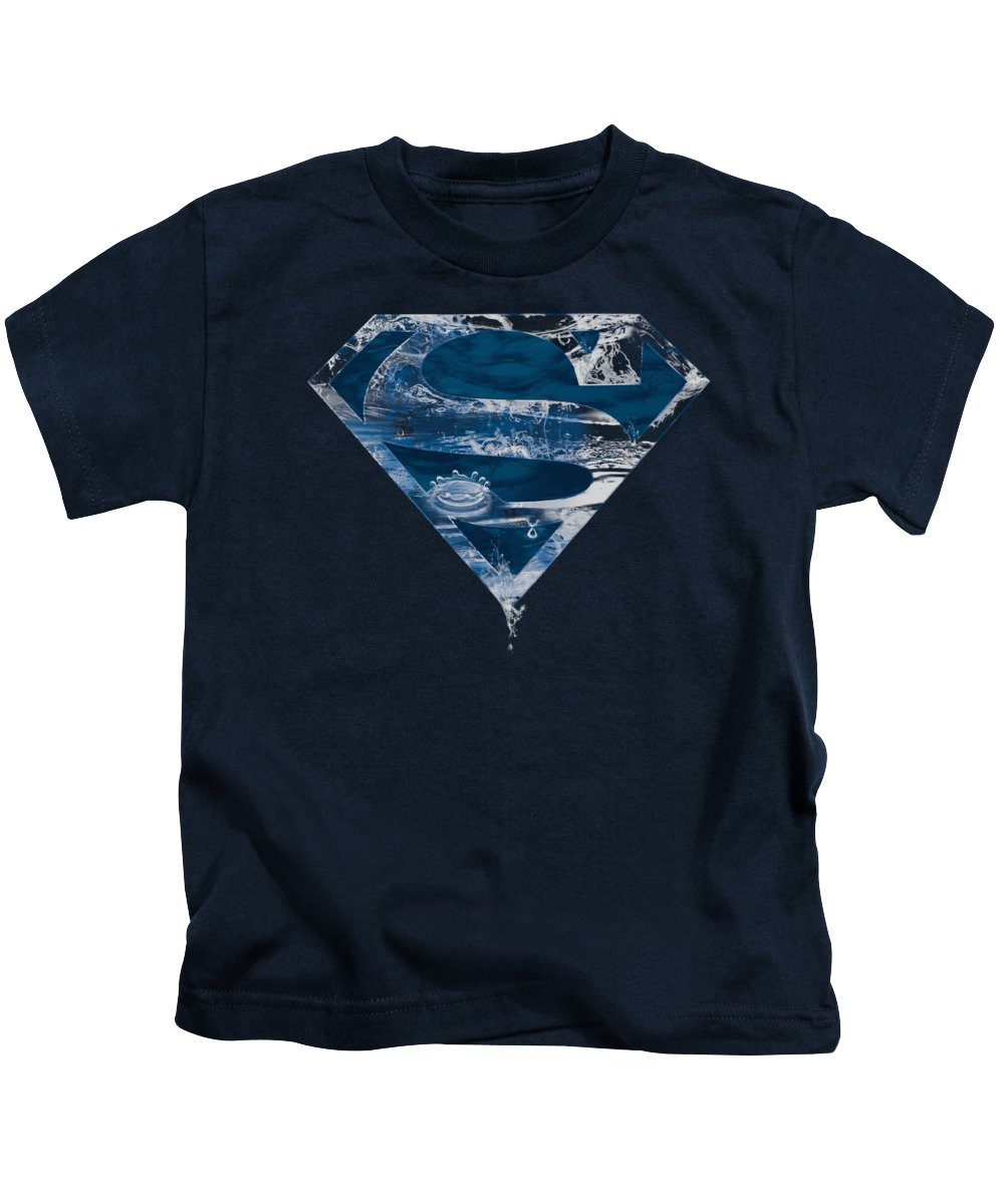 Superman Kids T-Shirt featuring the digital art Superman - Water Shield by Brand A