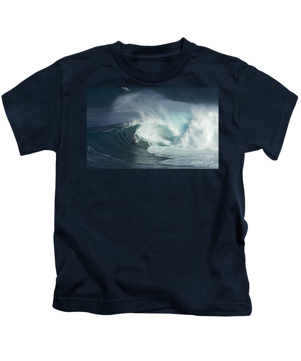 Jaws Kids T-Shirt featuring the photograph Surfing Jaws Fast And Furious by Bob Christopher
