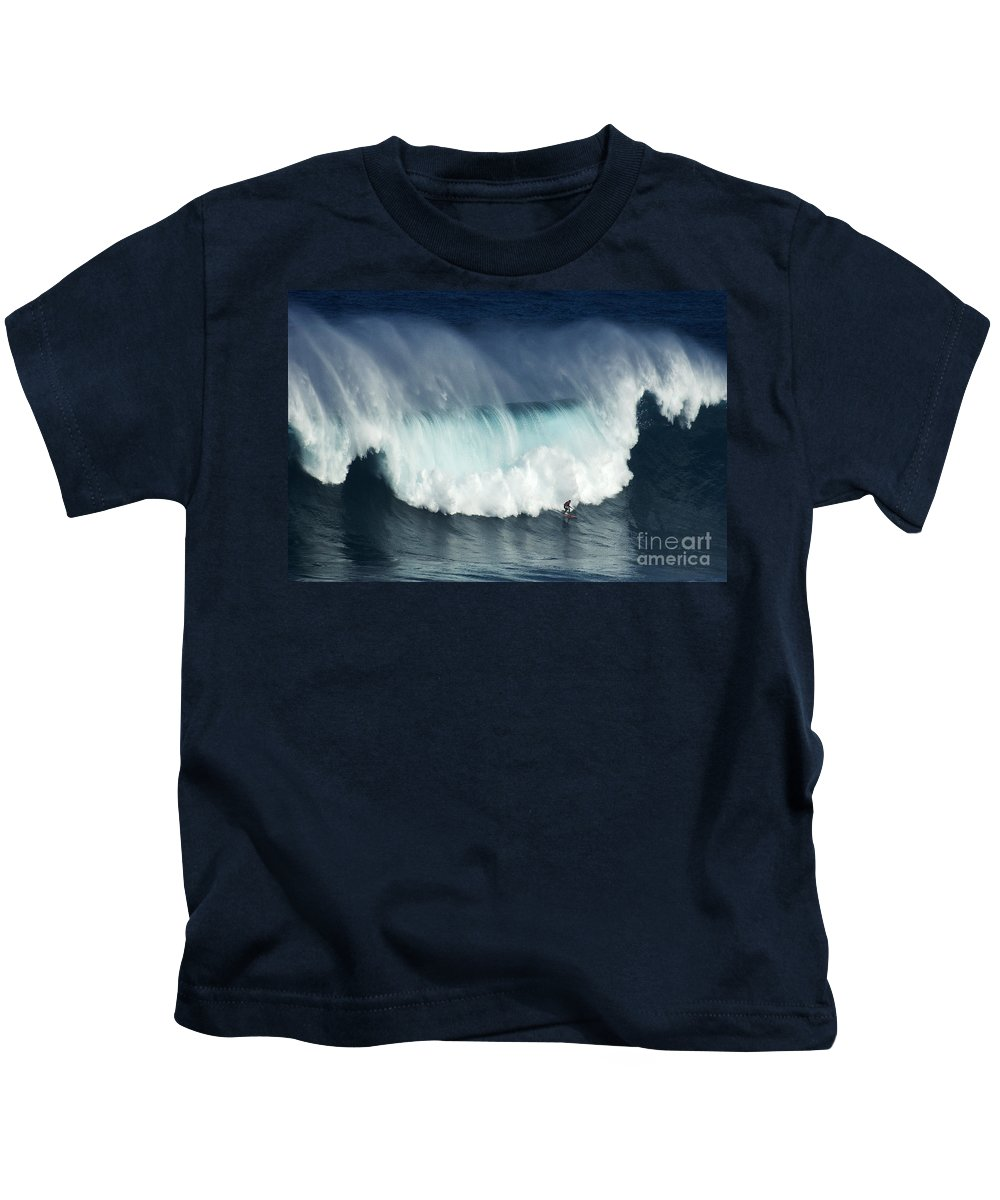 Jaws Kids T-Shirt featuring the photograph Surfing Jaws Running With Wolves by Bob Christopher
