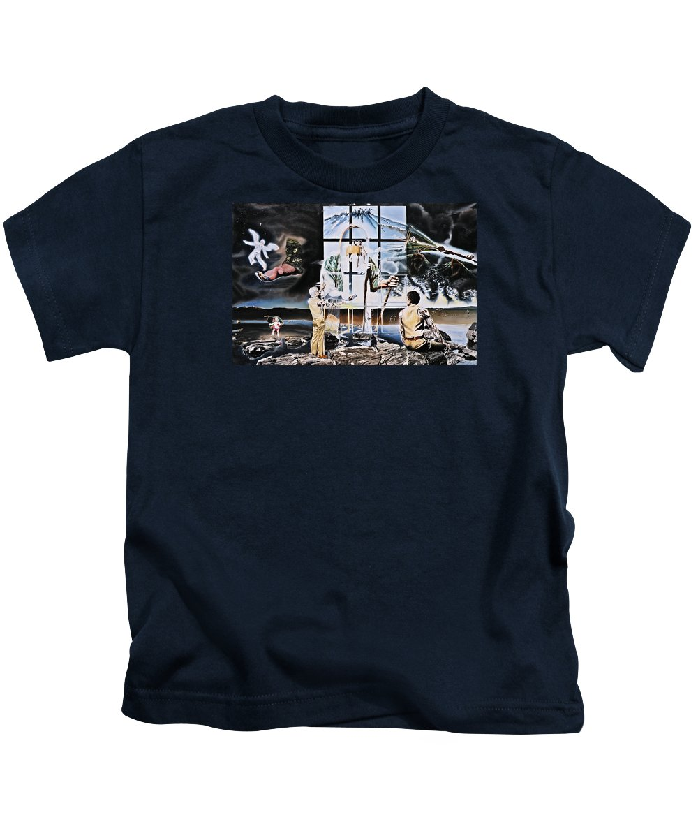 Surreal Kids T-Shirt featuring the painting Surreal Windows Of Allegory by Dave Martsolf