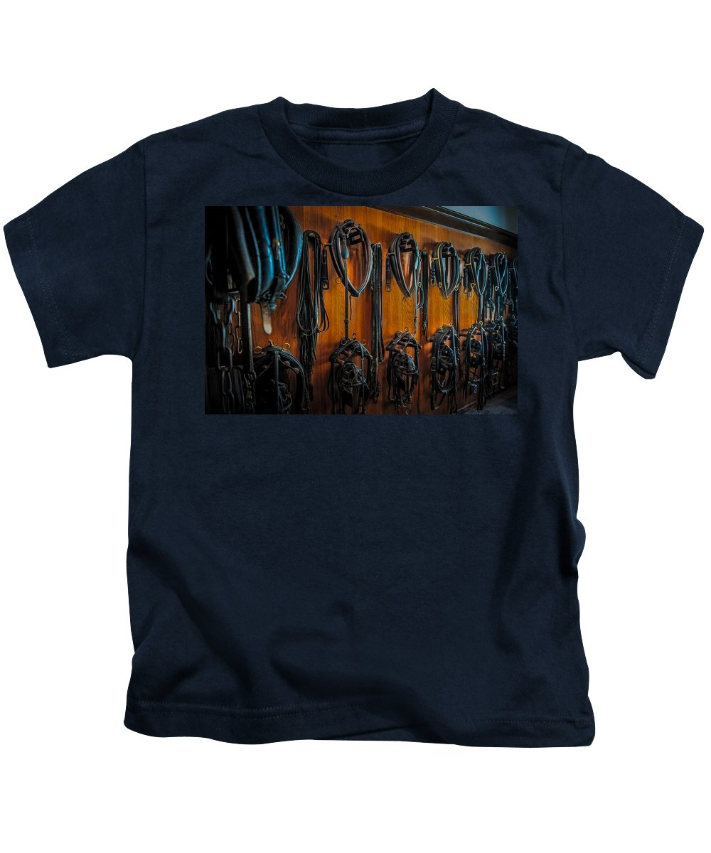 Horse Kids T-Shirt featuring the photograph Tack Room by Paul Freidlund