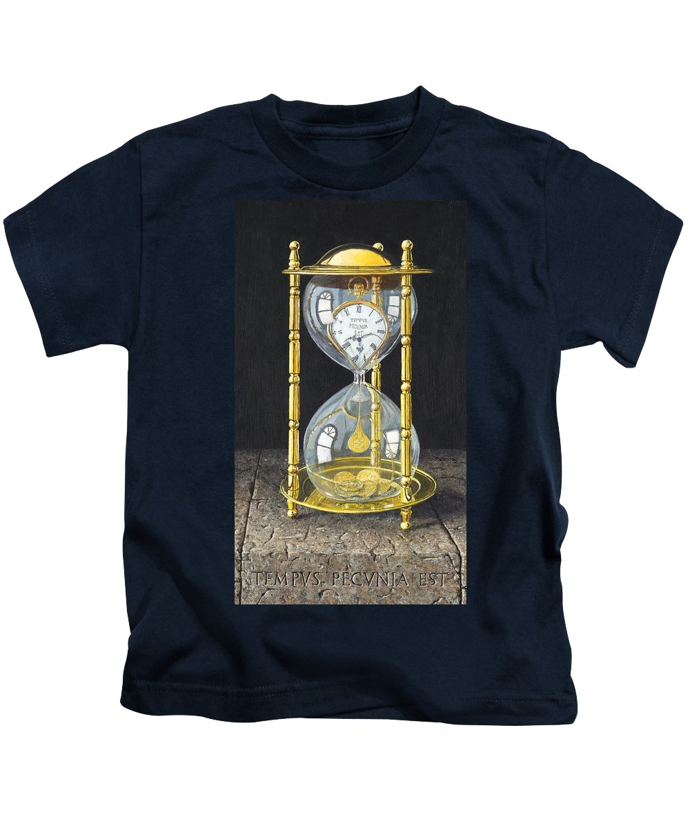 Still Life Kids T-Shirt featuring the painting Tempus Pecunia Est by Richard Harpum