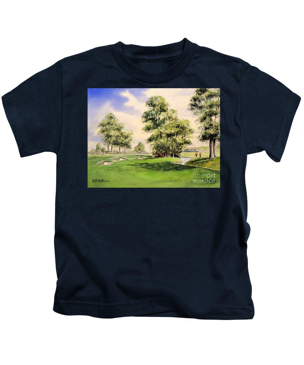 The Belfry Golf Course Kids T-Shirt featuring the painting The Belfry Brabazon Golf Course 10th Hole by Bill Holkham