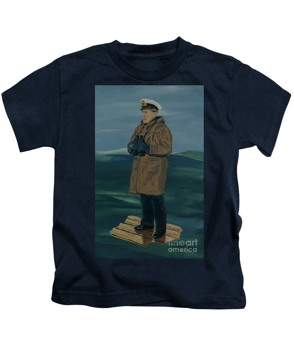 Captain Kids T-Shirt featuring the painting The Captain by Anthony Dunphy