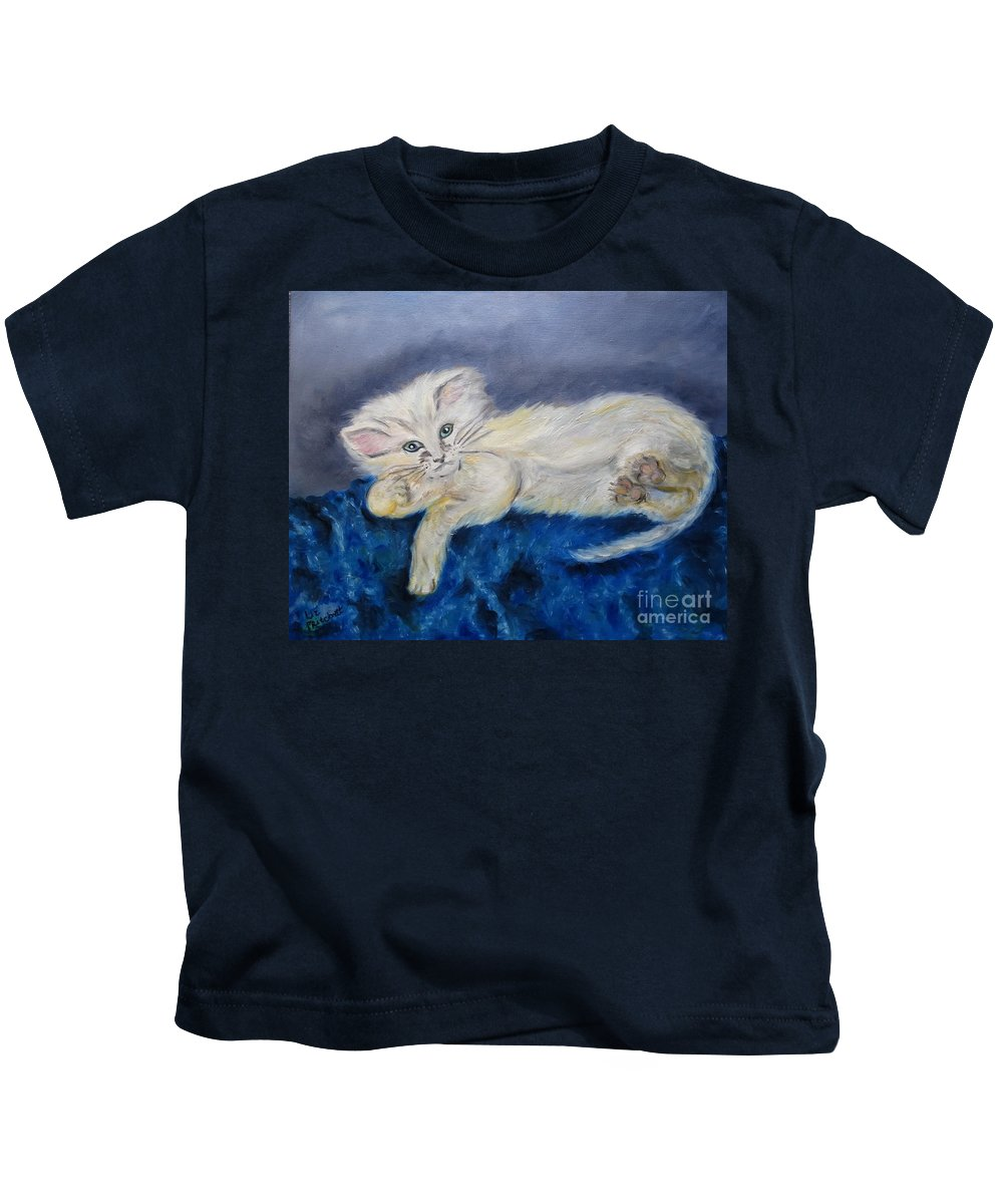 Cat Kids T-Shirt featuring the painting The Cat by Liz Pritchett