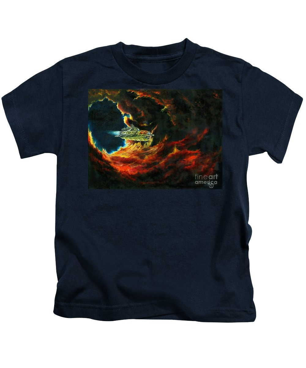 Devil Kids T-Shirt featuring the painting The Devil's Lair by Murphy Elliott